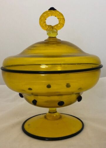 BEAUTIFUL! YELLOW BLOWN ART GLASS FOOTED COMPOTE WITH BLACK GLASS TRIM