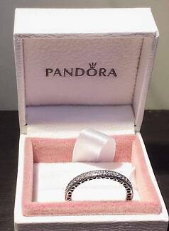Authentic Pandora- Hearts of Pandora Silver Stackable Ring- 58