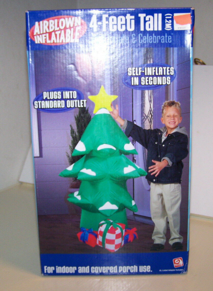 Gemmy Airblown Inflatable Tree 4 Ft Indoor Covered Porch Christmas Decoration