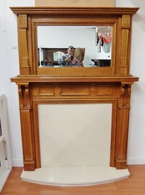 Used, Solid Oak Fire Surround Fireplace 1960x1455mm Wooden Timber with Hearth for sale  Sutton-in-Ashfield