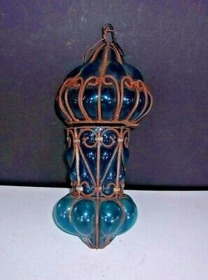 Antique EGYPTIAN Art Nouveau HAND BLOWN Ceiling Light Fixture L-1800s-E-1900s