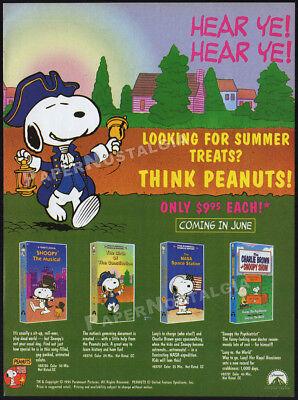 Peanuts   Snoopy  Orig  1995 Trade Print Ad   Video Promo  Charlie Brown  Nasa
