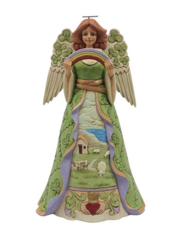 "Jim Shore HWC Irish Angel w Shamrocks Figurine Enesco 9.75""H Stone Resin NIB"