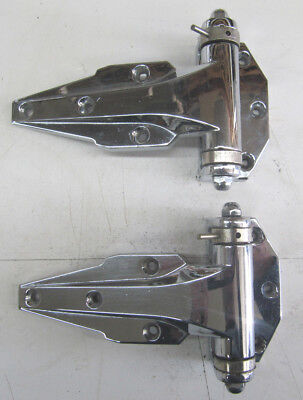 VTG Pair Chrome Keilson Spring Loaded Industrial Freezer Ice Box Offset Hinges