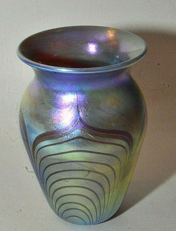 Studio Art Glass PULLED FEATHER Iridescent Vase - Attributed To Robert Held