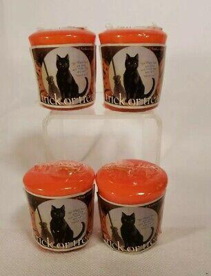 4 Sealed Vintage Yankee Candle Trick Or Treat Halloween Votive Candles Black Cat