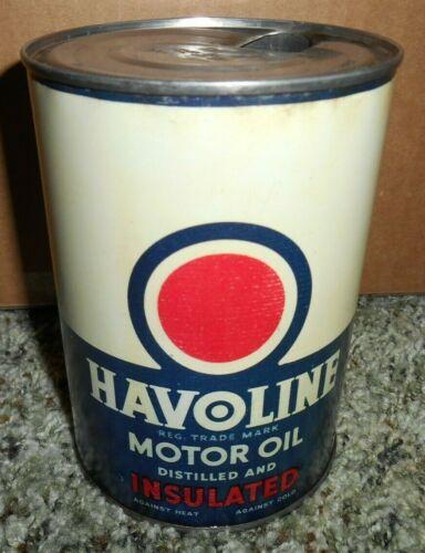 VINTAGE HAVOLINE RARE Refining Company 1 qt METAL Motor Oil Can GAS & OIL NICE