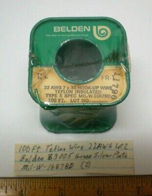100 Ft. Teflon Wire 22 Awg Belden 83005 Silver Plate Mil-w-16878d Lot 2 Usa