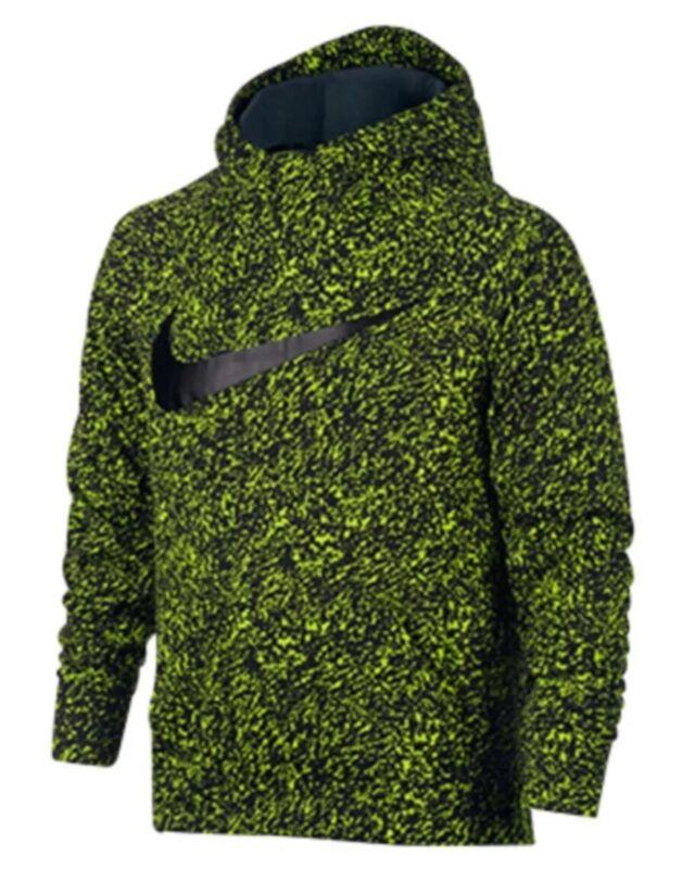 Nike Youth Therma Dri-fit Hoodie Camo Size L Volt Black Jordan Tech Fleece Boys