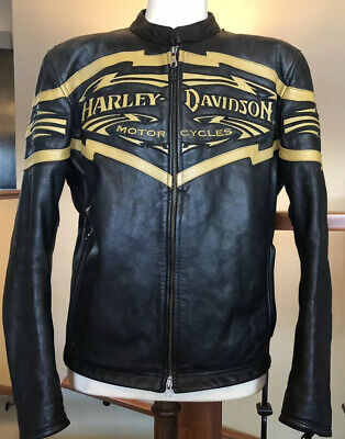 HARLEY DAVIDSON Men's Size L Black Leather Racing Jacket in VG Condition!