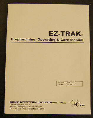 Southwestern Industries Bridgeport Ez-trak Controller Program Operation Manual