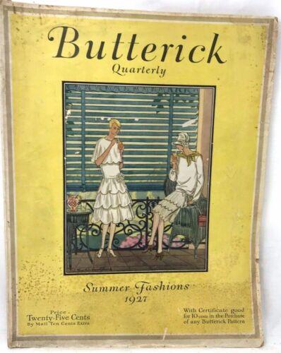 Vtg Butterick Quarterly Sewing Pattern Magazine 1927 ART DECO FASHION Flapper