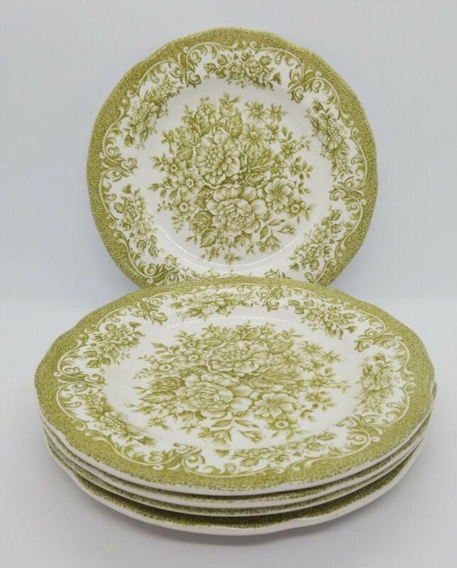 "5 J&G Meakin Ironstone Royal Staffordshire Avondale Dessert Plates Green 7"""