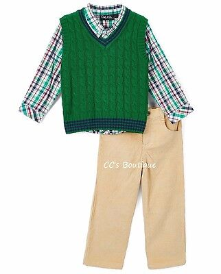 Boys ONLY KIDS outfit 2T 3T 4T NWT green vest plaid shirt khaki pants Christmas - 3t Boy Christmas Outfit