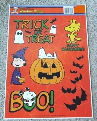 Peanuts Snoopy Lucy Woodstock Halloween Window Cling Sheet, Set of 6 Orange New
