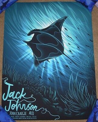 JACK JOHNSON concert gig poster print BERKELEY / LAKE TAHOE 2017 arno kiss