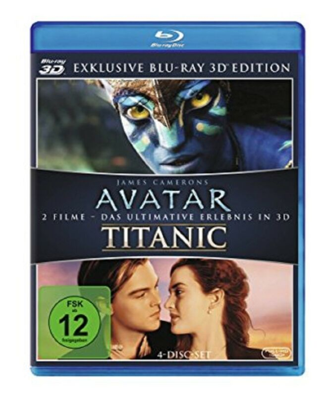 Avatar 3D und Titanic 3D NEU OVP 4 Discs 2 Filme