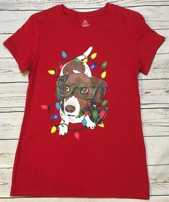 WOMENS CHRISTMAS HOLIDAY T SHIRT LADIES SZ SM (4-6) DOG W/ GLASSES GLITTER RED