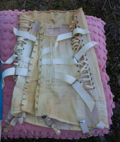 Vtg Corset CAMP Fan Lace Dress Girdle Garter Open Bottom Metal Boning Back Brace