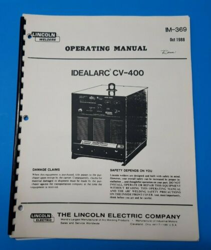 Lincoln Electric IDEALARC CV-400 Operating Manual IM-369 (F)