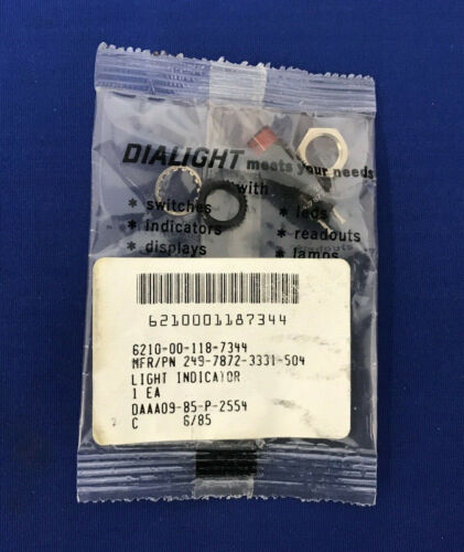 DIALIGHT 249-7872-3331-504 PANEL MOUNT INDICATOR LIGHT SHOCK RESISTANT RED