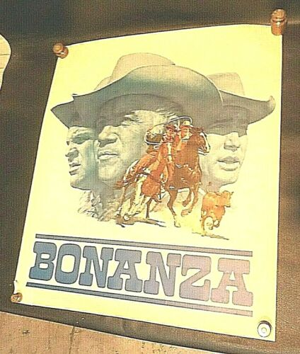 "1966 NBC BONANZA TV SHOW RARE PROMOTIONAL POSTER 21"" BY 24"""