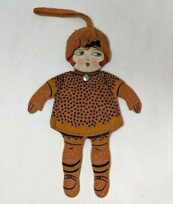 1920s Style Purses, Flapper Bags, Handbags VTG Antique 1920s Felt Flapper Girl Peggy Doll Novelty Handkerchief Purse KP21 $99.99 AT vintagedancer.com