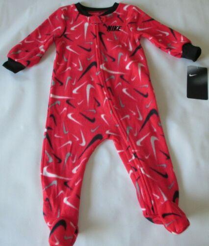 Nike Sleep & Play Red Repeat Swoosh Logo Fleece One Piece - Size 9 Months - New