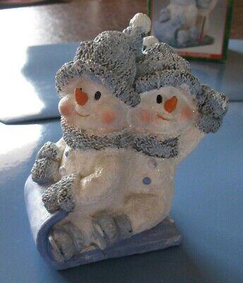 World Bazaar Sledding Pair of Snowmen Figurine Blue & White---Perfect Condition