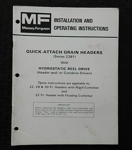 "MASSEY-FERGUSON MF 750 760 850 860 COMBINE ""GRAIN HEADERS"" OPERATORS MANUAL"
