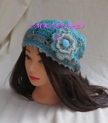 (Crochet Hat Chic winter appeal Fashion flower Mom Sister FREE SHIP A6)