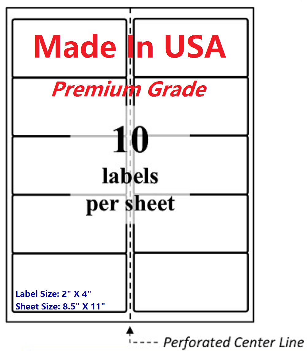 """1000 Premium Blank Shipping Labels-2"""" X 4""""-Made in USA-Self Adhesive-8.5 x 11"""
