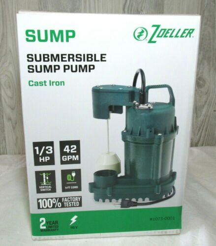Zoeller 1073-0001 1/3 HP 42GPM Cast Iron Submersible Sump Pump w/Discharge Hose