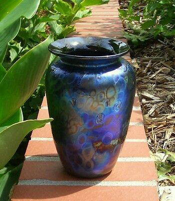 Arthur Allison Iridescent Hand Blown Oil Spot Signed Vase 7