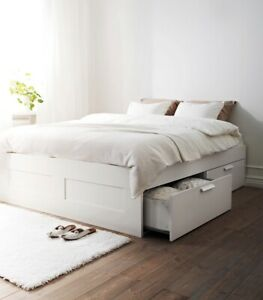 IKEA Brimnes White DOUBLE Bed frame with storage.
