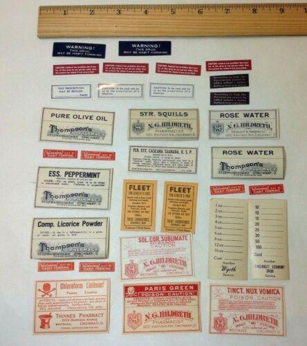 Vintage Labels for Medicine Bottles, 32  labels for drugs and poison, NOS