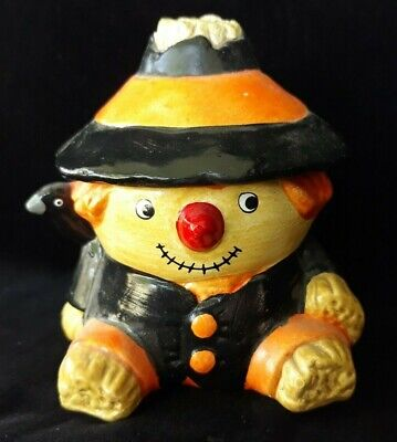 HALLOWEEN GHC Vintage Scarecrow Candle with Black Bird and Removable Hat as Lid