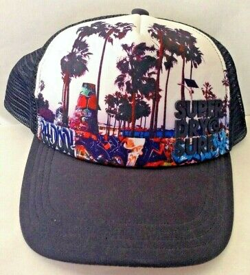 Superdry NAVY SURF Snap Back Mesh Hat One Size EUC
