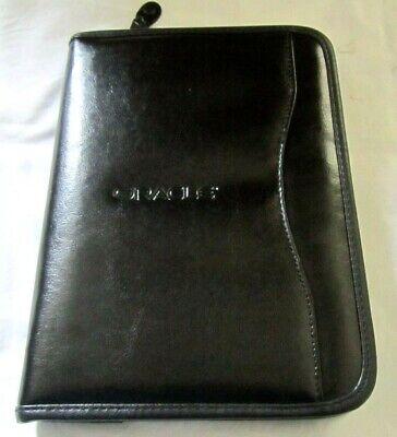Oracle Black Faux Leather Portfolio Zipper Organizer Case Pocket Planner Classic