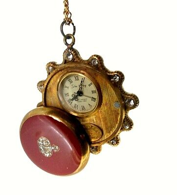 Key wind mechanical pocket watch, matching chain, works great.+++
