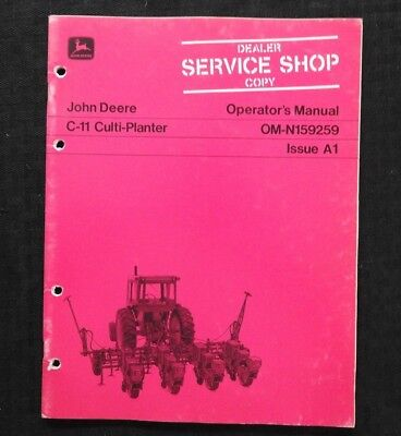 Original 1971 John Deere C-11 C11 Culti-planter Operators Manual Near Mint