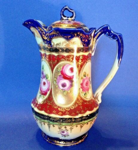 Nippon Ornate Chocolate Pot Or Teapot - Hand Painted With Gold Moriage - Japan
