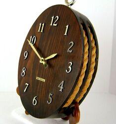 Seth Thomas Nautical Wall Clock Block & Tackle Rope Pulley 2325 Wood Quartz