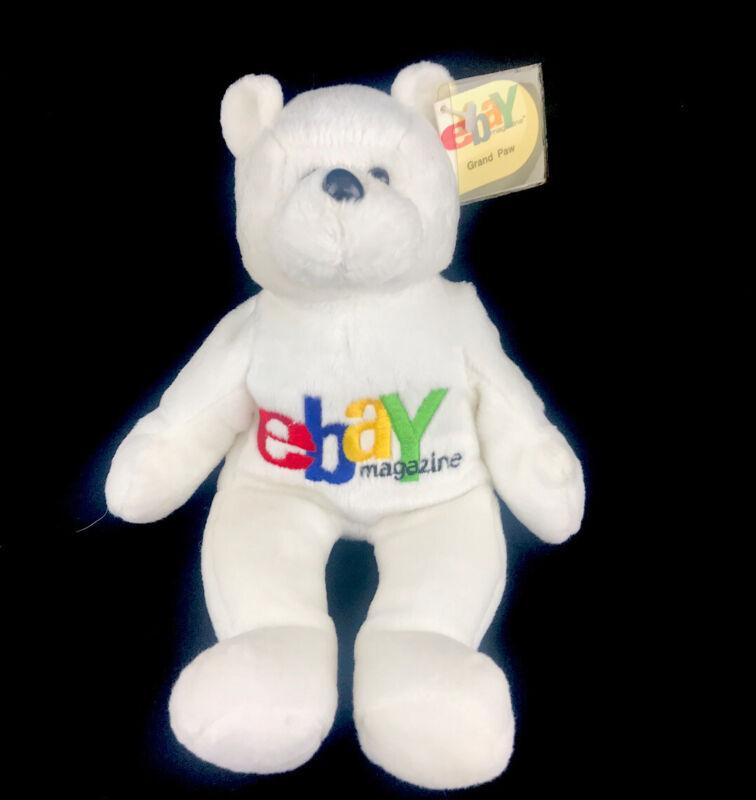 Vintage 1999 eBay Magazine Limited Edition Grand Paw Bear Bean Bag Plush Toy