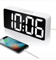 9 Large LED Digital Alarm Clock with USB Port for Phone white, White   Desk
