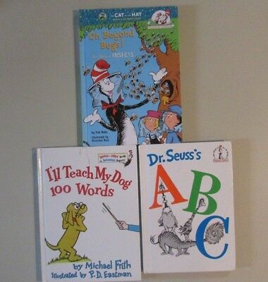 Cat In The Hat Hardcover Books Lot Dr. Seuss's ABC & Teach Dog Words & Bugs Book