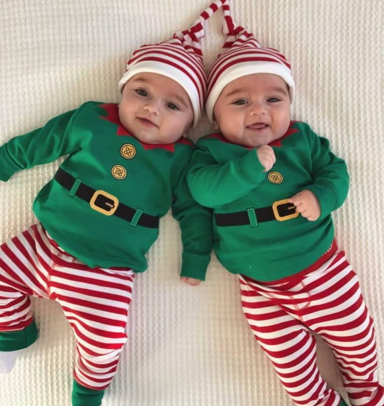 Baby Toddler Christmas Elf Santa Playsuit 3Pcs Romper Pant Hat Costume Outfit US