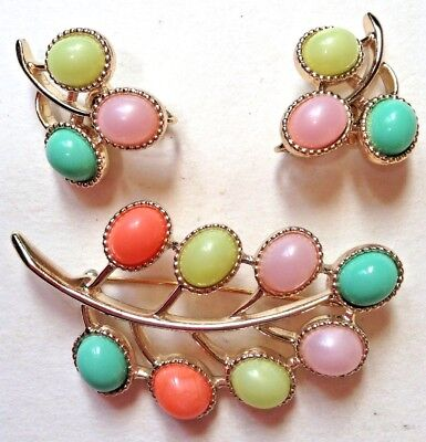 Vintage Sarah Coventry CANDY LAND Pin & Earrings Set Pastel Thermoset Gumdrops