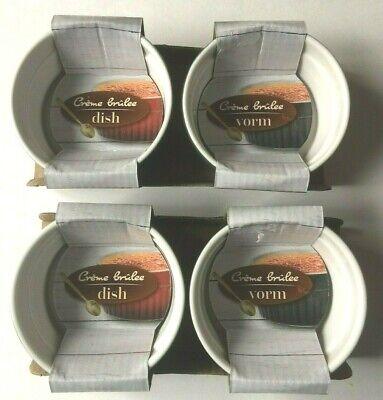 Set 4 Creme Brulee Dishes Ramekins-Stoneware-Gray Grey-3.5