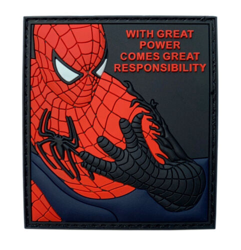 Great Power Comes Great Responsibility Spider Man Patch (3D-PVC Rubber 3.0 inch)